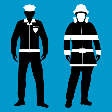 Policeman and Fireman flat icon. Service 911. Silhouette Vector illustration.