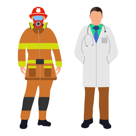 Fireman and Doctor flat icon. Service 911. Cartoon Vector illustration.