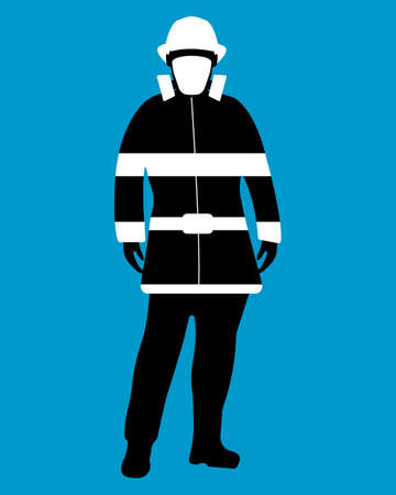 Fireman flat icon. Service 911. Silhouette Vector illustration.