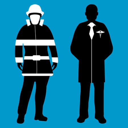 Doctor and Fireman flat icon. Service 911. Silhouette Vector illustration.