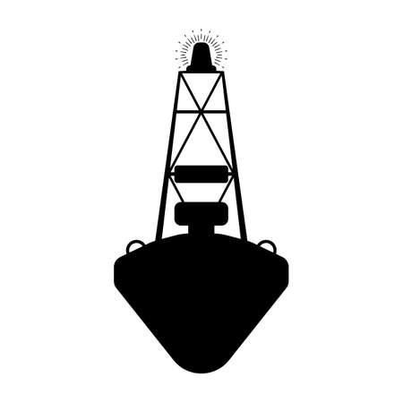 Buoy flat icon. Silhuette Vector illustration. Illustration
