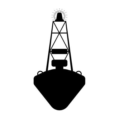 Buoy flat icon. Silhuette Vector illustration. Vettoriali