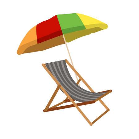 Sunbed with umbrella flat icon. Cartoon Vector illustration. Illustration