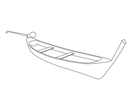 barque: Pirogue flat icon and sign. Outline Vector Illustration.
