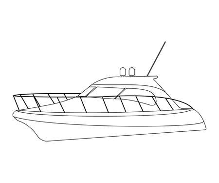 barque: Speedboat flat icon and sign. Outline Vector Illustration.