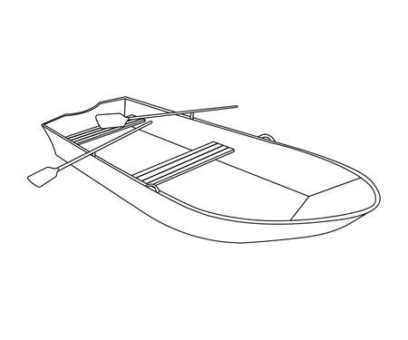 barque: Boat flat icon and sign. Outline Vector Illustration.