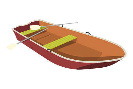 barque: Boat flat icon and sign. Cartoon Vector Illustration.