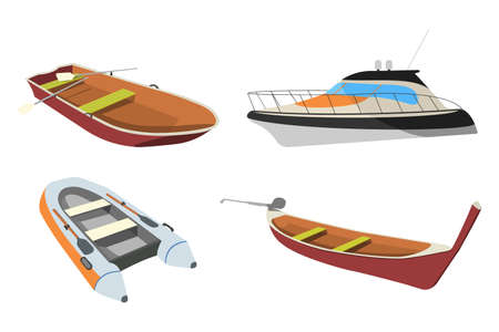 Set of Boat: Speedboat, Pirogue, Raft and Boat icon. Cartoon Vector Illustration. Illustration