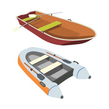 Boat and Raft flat icon. Cartoon Vector Illustration.