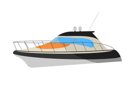 barque: Speedboat flat icon and sign. Cartoon Vector Illustration.
