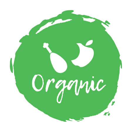 food waste: Recycling waste sorting icon - organic. Vector illustration. Illustration