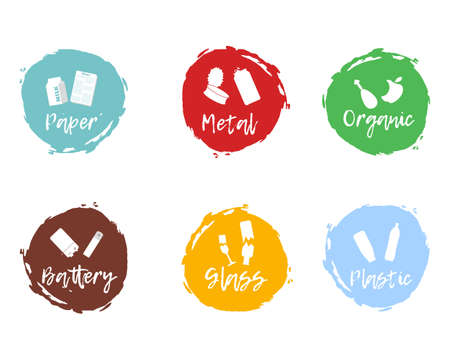 Recycling waste sorting icon - plastic, glass, metal, paper, organic, battery. Vector illustration.