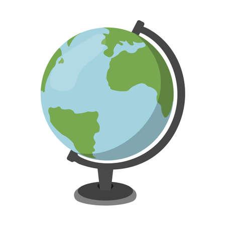 Cartoon Globe icoon. Scholenbenodigdheden. Geïsoleerde Vector illustratie.