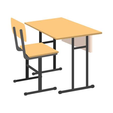 Cartoon School Desk icon. Isolated Vector illustration.