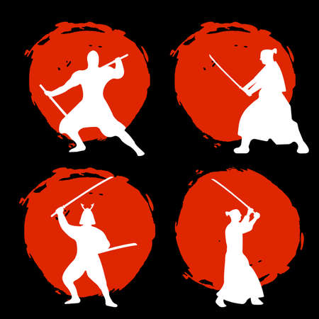 Set of Samurai Warriors Silhouette on red moon and black background. Isolated Vector illustration. Illustration
