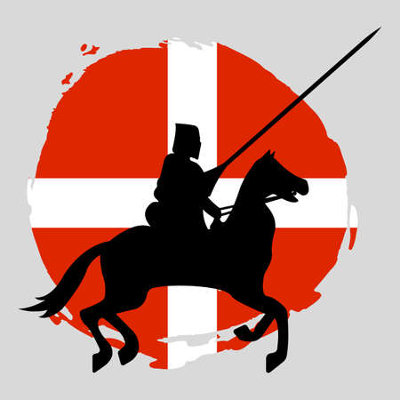 England Knight Warrior Silhouette on white background. Isolated Vector illustration.