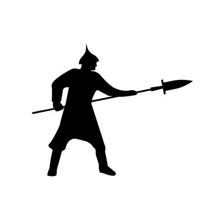 Warrior Silhouette on white background. Isolated Vector illustration.