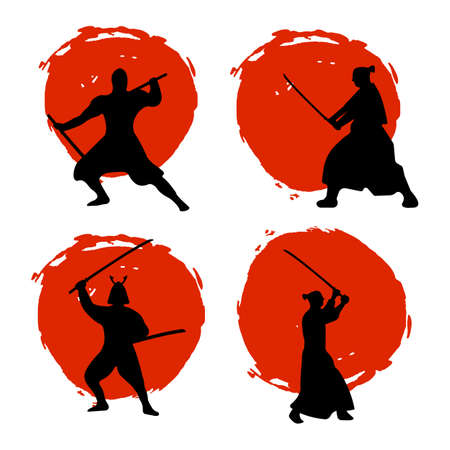Set of Samurai Warriors Silhouette on red moon and white background. Isolated Vector illustration.