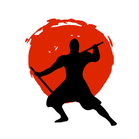 Ninja Warrior Silhouette on red moon and white background. Isolated Vector illustration. Illustration