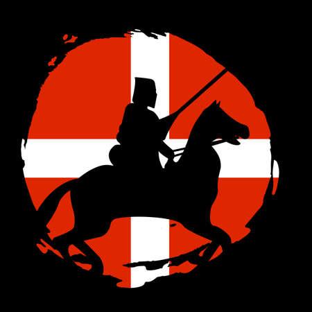 England Knight Warrior Silhouette on black background. Isolated Vector illustration. Illustration