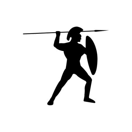 sward: Legionnaire Warrior Silhouette on white background. Isolated Vector illustration.