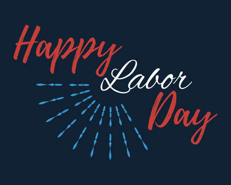 Happy Labor Day banner and giftcard. Labor Day Poster Sign on Blue Background. Vector Illustration.
