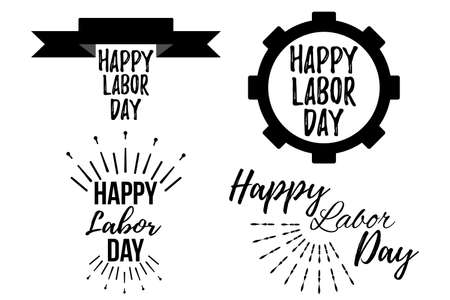 Set of Happy Labor Day banner and giftcard. Labor Day Poster Sign on White Background. Vector Illustration.