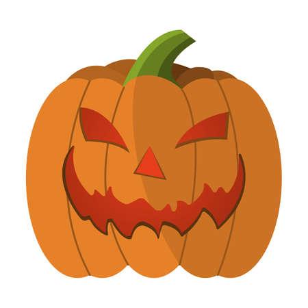 first house: Pumpkin cartoon icon on green background. Vector illustration.