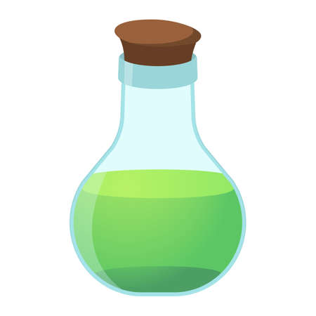 first house: Flask cartoon icon on green background. Vector illustration.
