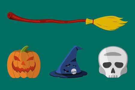 first house: Cartoon Halloween icon set. Pumpkin, Skull, Flask, Witchs Hat, Broom. Vector illustration. Illustration
