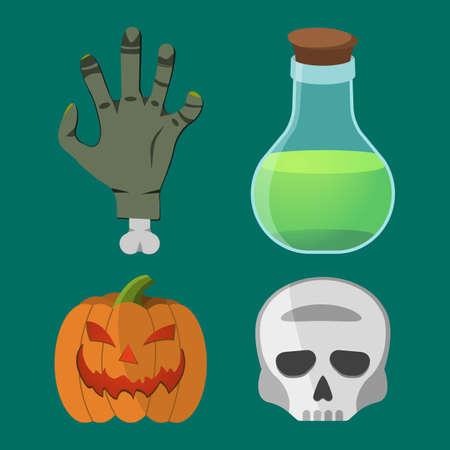first house: Cartoon Halloween set. Pumpkin, Hand, Skull, Flask. Vector illustration. Illustration