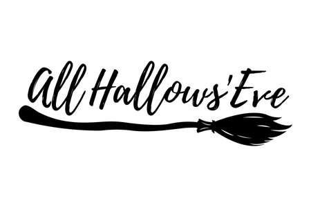 first house: Happy Halloween Greeting Card with Calligraphic Text. Halloween Poster and Banner on White Background. Vector illustration.