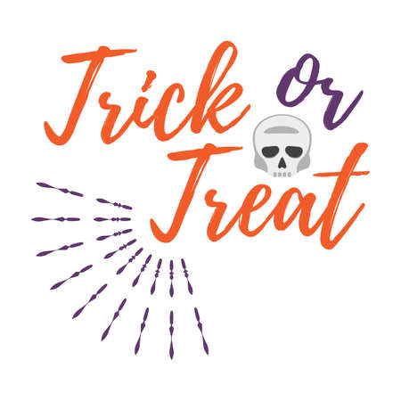 Happy Halloween Greeting Card with Calligraphic Text. Halloween Poster and Banner on White Background. Vector illustration.