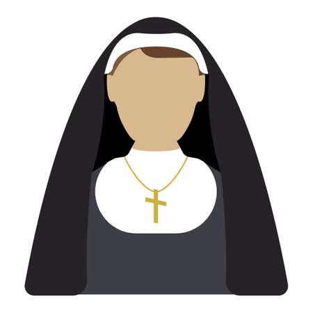 Nun cartoon icon. Isolated vector illustration on white background.