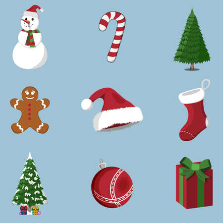 Set of 9 Christmas icon on blur background. Cartoon style, vector illustration for Christmas day. Illustration