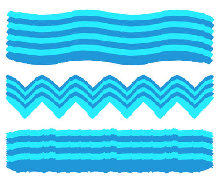 Set of Hand Painted Wave Brush Strokes. Watercolor Wave Brush. Vector illustration. Illustration