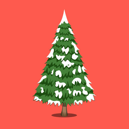 Christmas Tree, XMas icon. Cartoon style. Vector Illustration for Christmas day.