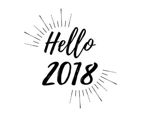 Vrolijke Kerstkaart met zonnestraal en kalligrafie Hallo 2018. Sjabloon voor groeten, Gefeliciteerd, Housewarming posters, uitnodigingen, foto overlays. Vector illustratie.