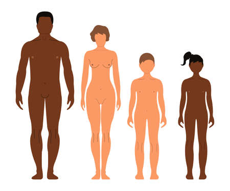 Multinational Family man, woman, boy and girl. Human front side Silhouette. Isolated on White Background. Vector illustration. Фото со стока - 90417857