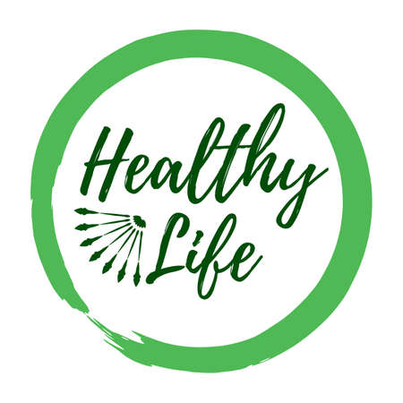 Etiqueta de vida saludable. Estilo ecológico y distintivos de estilo de vida de bienestar. Icono de ilustración vectorial con Sunburst.