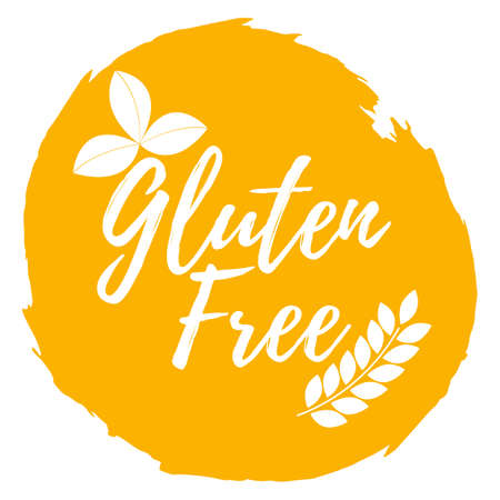 Gluten free label, icon. Healthy and organic Food. Font with brush. Food intolerance symbols and badges. Illustration