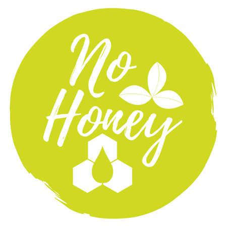 No honey label, icon. Healthy and organic food. Font with brush. Food intolerance symbols and badges. Illustration