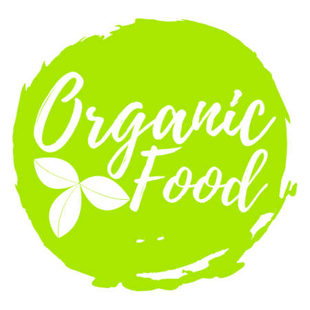 Organic Food label. Font with Brush. Food Intolerance Symbols and Badges. Vector illustration icon.