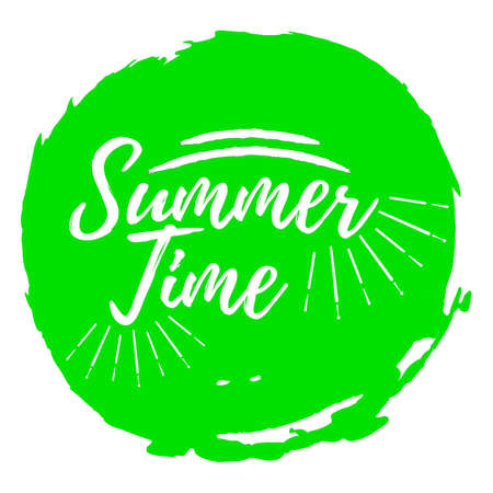 Summer Time label. Font with Brush. Summer and Beach badges. Vector illustration icon with Sunburst.