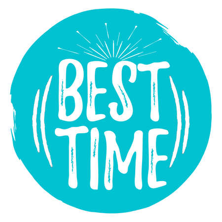 Best time label. Font with brush. Summer and beach badges. Vector illustration icon with sunburst. Illustration