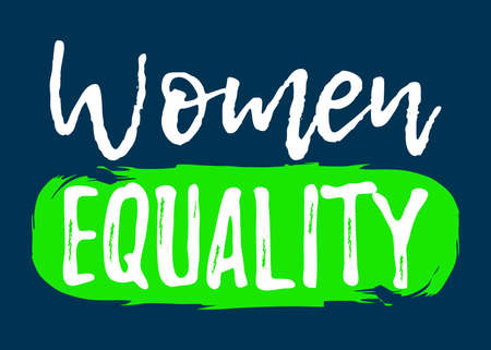 Women Equality label. Font with Brush Style Vector illustration icon.