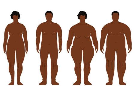 Uomini e donne grassi africani. Cartone animato, stile contorno. Silhouette lato anteriore umano. Isolato su sfondo bianco Illustrazione vettoriale Archivio Fotografico - 91871953
