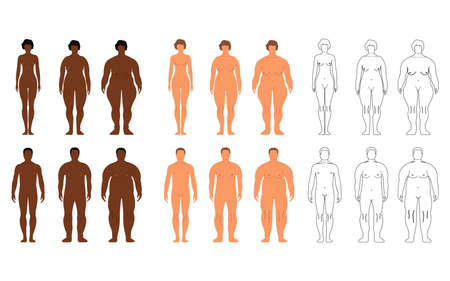 Afrikaanse en Europese vrouwen en mannen. Cartoon, overzichtsstijl. Menselijke voorkant silhouet. Geïsoleerd op witte achtergrond. Vector illustratie