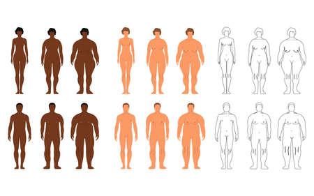 Afrikanische und europäische Frauen und Männer. Cartoon, Umrissstil. Menschliche Vorderseite Silhouette. Auf weißem Hintergrund isoliert. Vektorillustration. Vektorgrafik