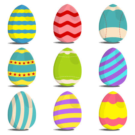 Set of Egg Hunt icon. Easter Egg label on white Background. Cartoon style. Vector Illustration.